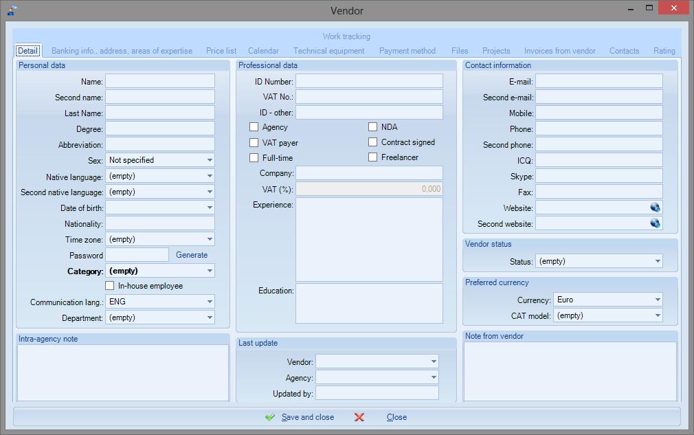 QuaHill > Features > Vendor management